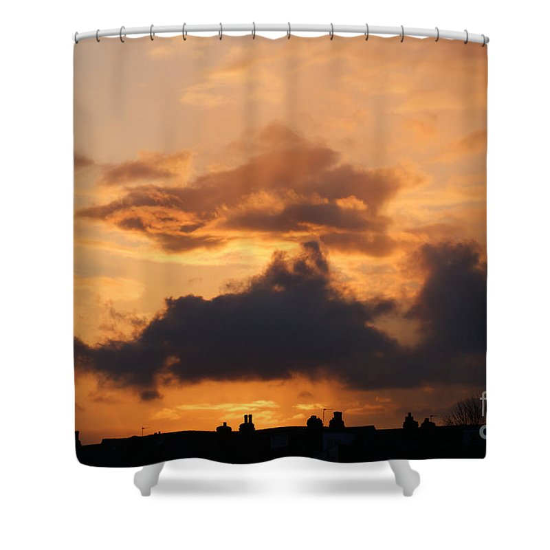 Sunset Shower Curtain featuring the photograph Rooftop Sunset 3 by Carol Lynch