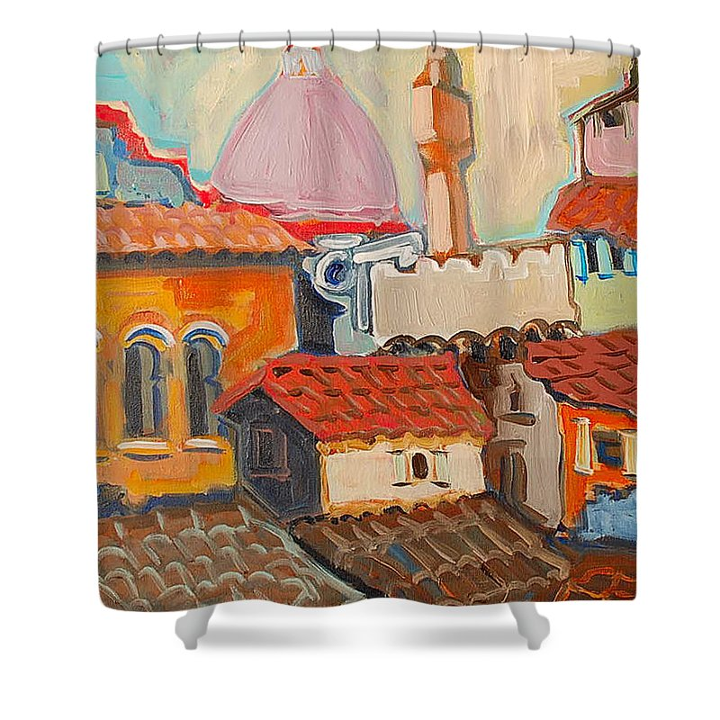 Florence Shower Curtain featuring the painting Rooftops by Kurt Hausmann