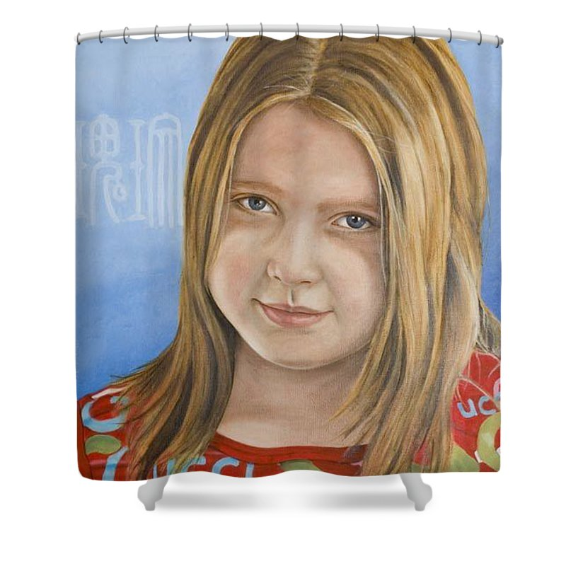 Portrait Shower Curtain featuring the painting Roos by Rob De Vries