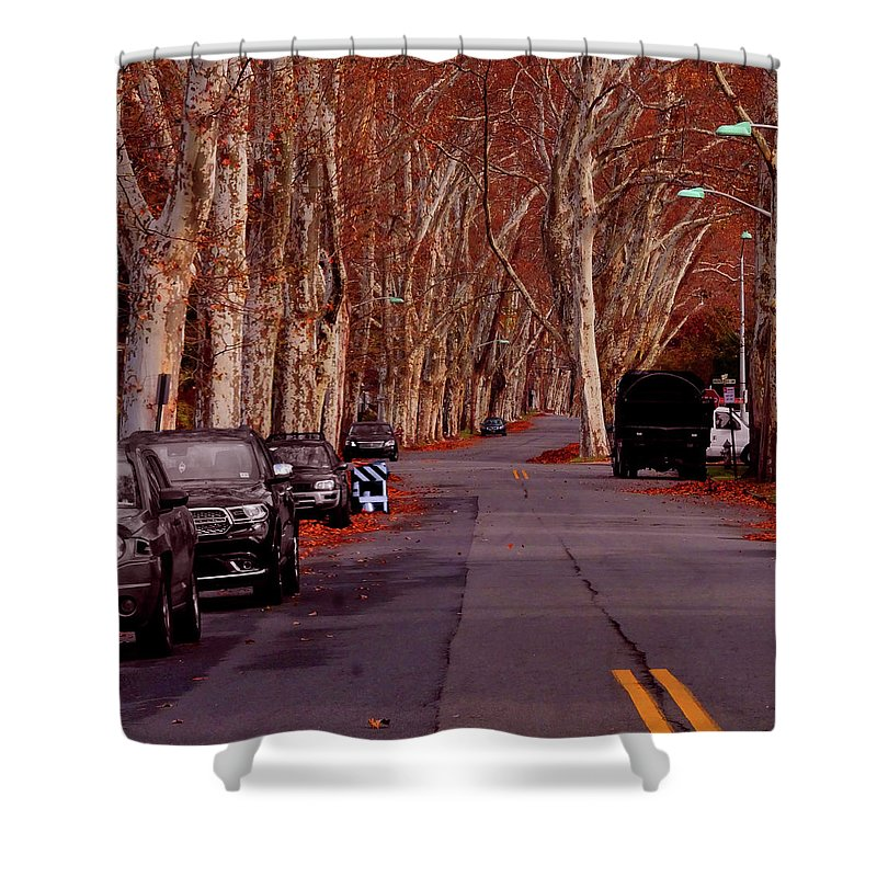 Roosevelt_avenue;trees;sycamore;urban;east_orange;new+jersey;calm Shower Curtain featuring the photograph Roosevelt Avenue Red by Leon deVose