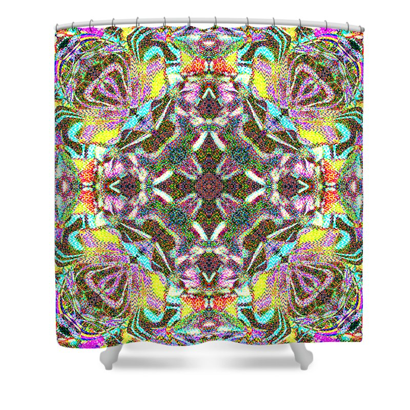 Abstract Shower Curtain featuring the digital art Roquette by Blind Ape Art
