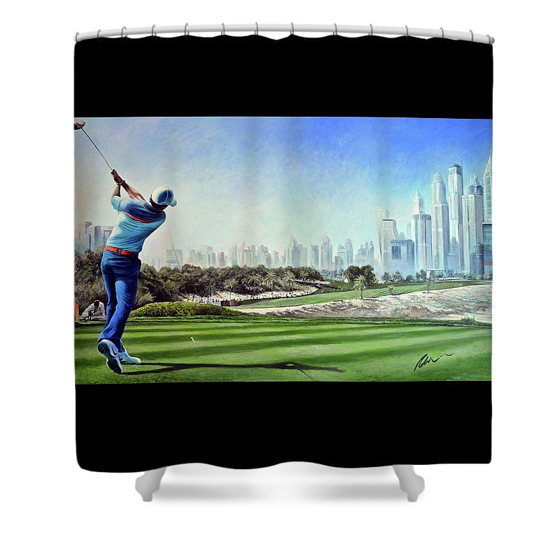 Rory Mcilroy Shower Curtain featuring the painting Rory At Ddc Emirates Gc Dubai 8th 2014 by Mark Robinson
