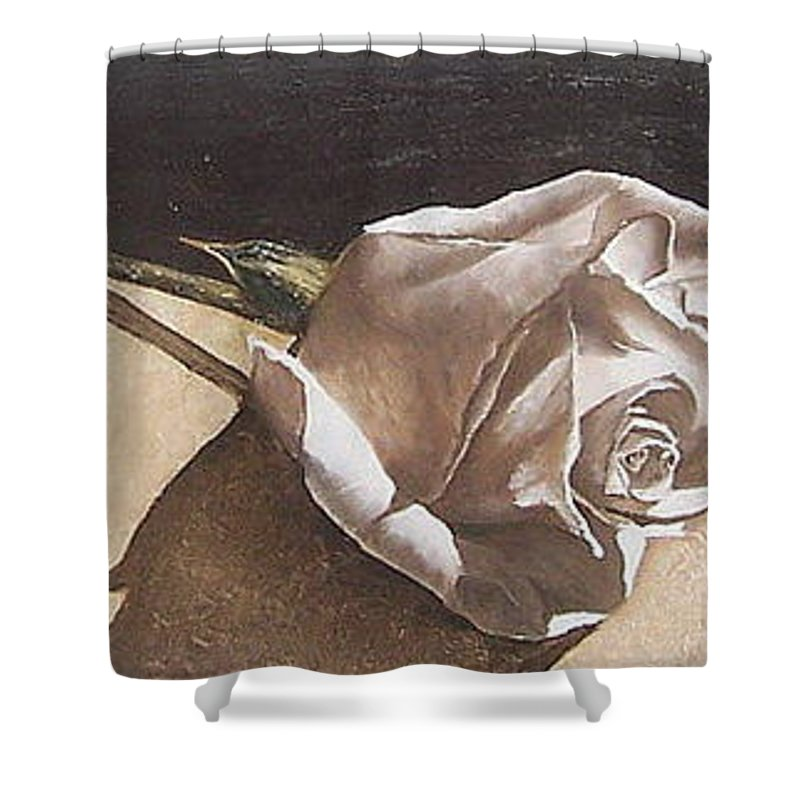 Rose Light Flower Floral Shower Curtain featuring the painting Rose 1 by Natalia Tejera