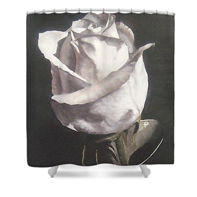 Rose Floral Nature White Flower Shower Curtain featuring the painting Rose 2 by Natalia Tejera