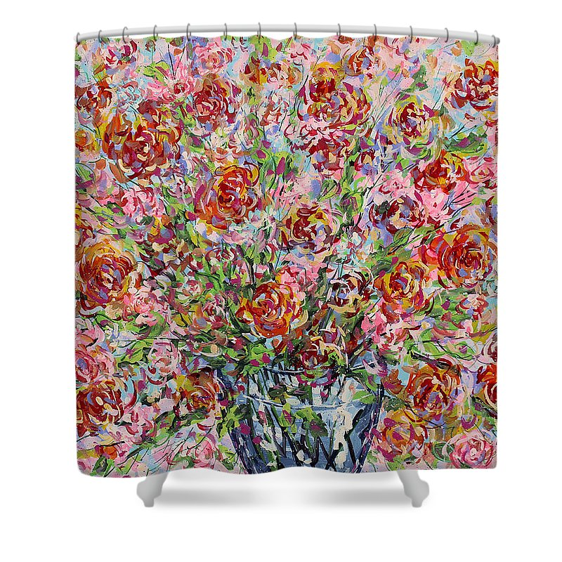 Flowers Shower Curtain featuring the painting Rose Bouquet In Glass Vase by Leonard Holland