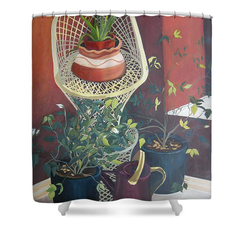 Still Life Shower Curtain featuring the painting Rose Buds by Antoaneta Melnikova- Hillman