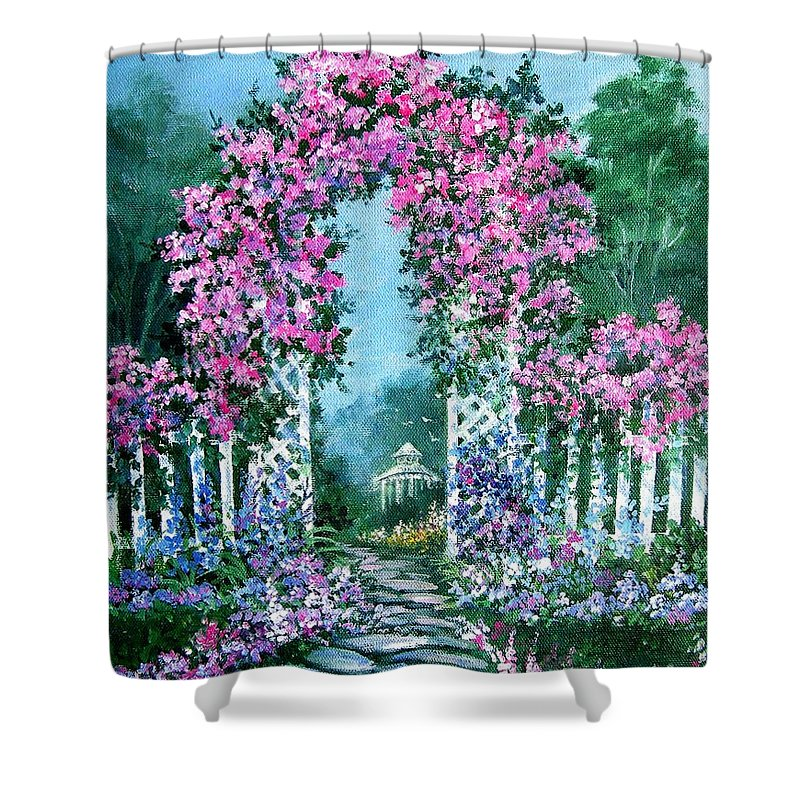Roses;floral;garden;picket Fence;arch;trellis;garden Walk;flower Garden; Shower Curtain featuring the painting Rose-covered Trellis by Lois Mountz