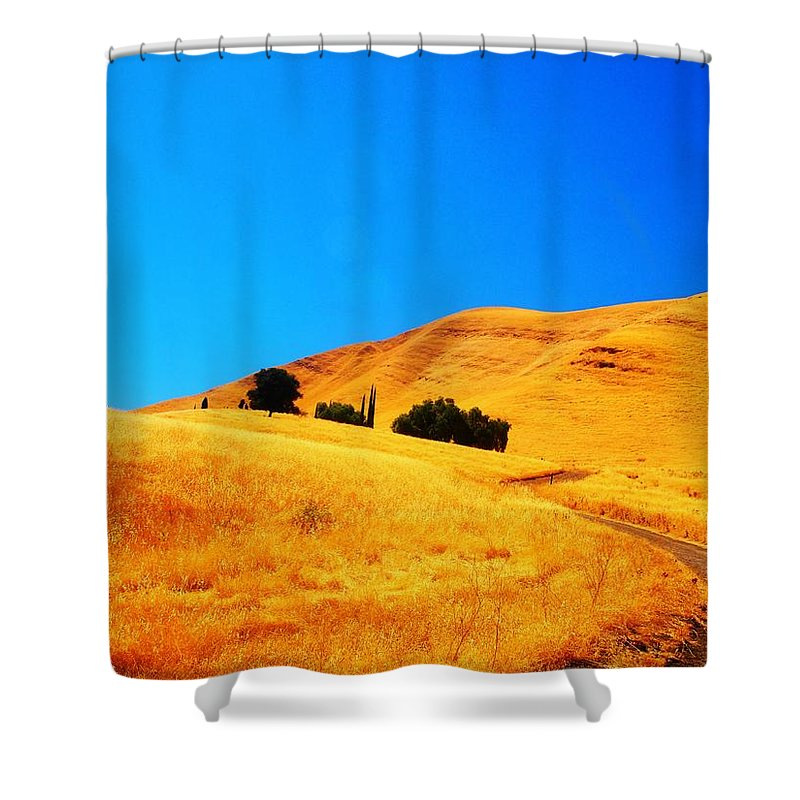 Landscape Shower Curtain featuring the photograph Rose Hill Cemetery Hills by Steve Moore