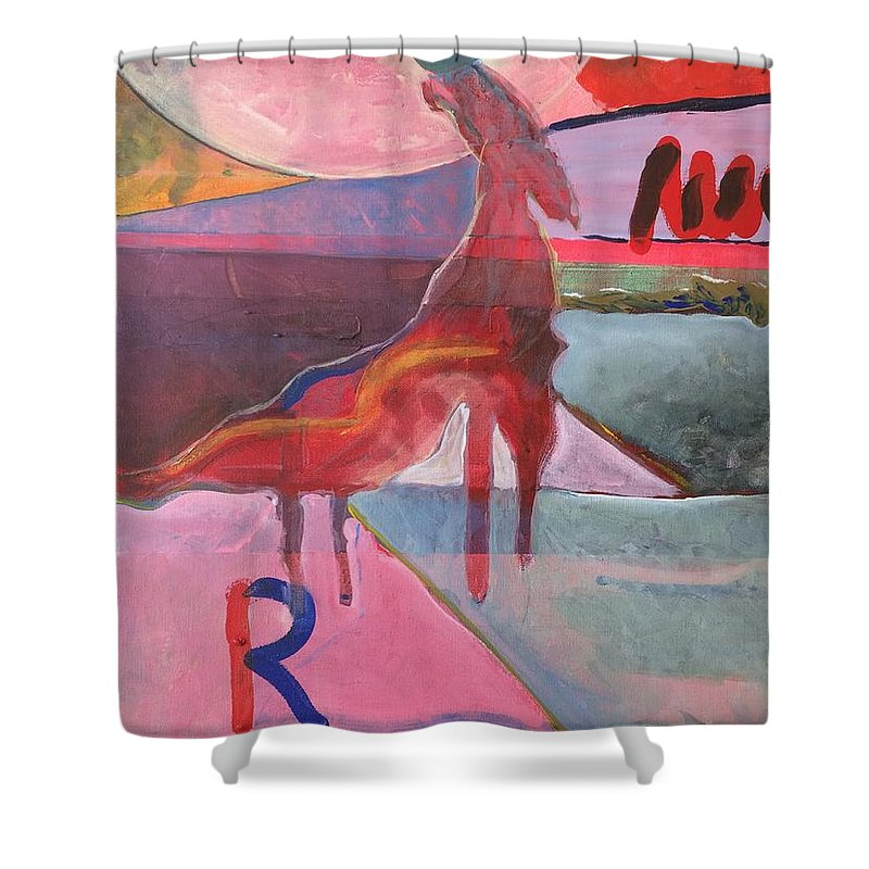Abstract Shower Curtain featuring the painting Rose Horse by Jesus Alonso