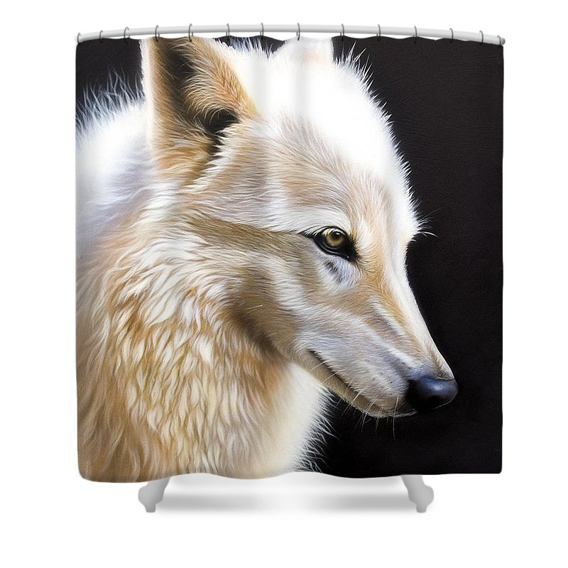 Acrylic Shower Curtain featuring the painting Rose 3 by Sandi Baker