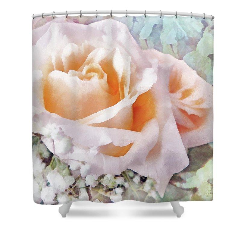 Rose Shower Curtain featuring the digital art Rose Ivy by Francesa Miller