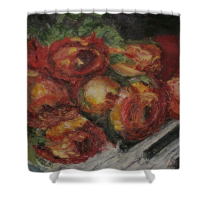 Still Life Shower Curtain featuring the painting Rose Melody by Stephen King