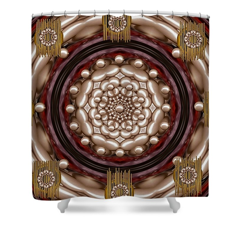 Rose Of Perls Shower Curtain featuring the mixed media Rose Of Japan by Pepita Selles