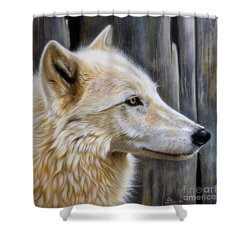 Wolves Shower Curtain featuring the painting Rose by Sandi Baker