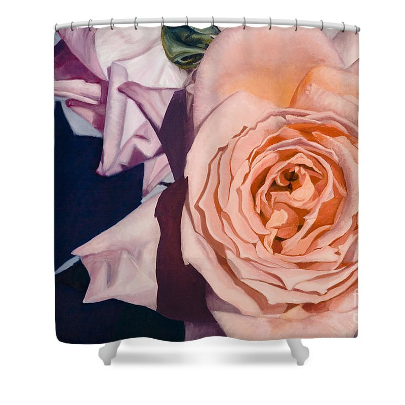 Roses Shower Curtain featuring the painting Rose Splendour by Kerryn Madsen-Pietsch