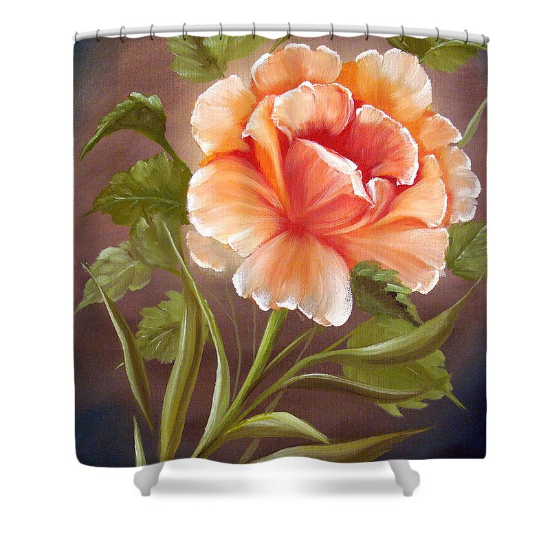 Rose Shower Curtain featuring the painting Rose Tropicana by David G Paul