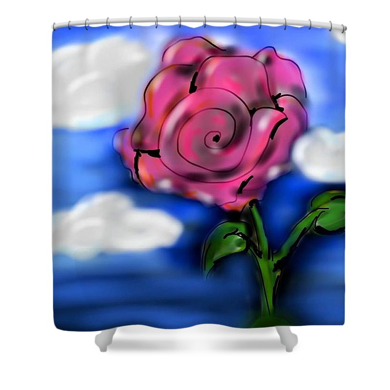 Rose Shower Curtain featuring the digital art Rose Within The Clouds by Julio Velazquez