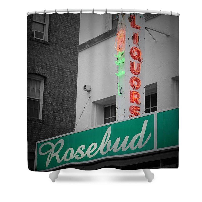 Rosebud Shower Curtain featuring the photograph Rosebud Liquors by Jost Houk