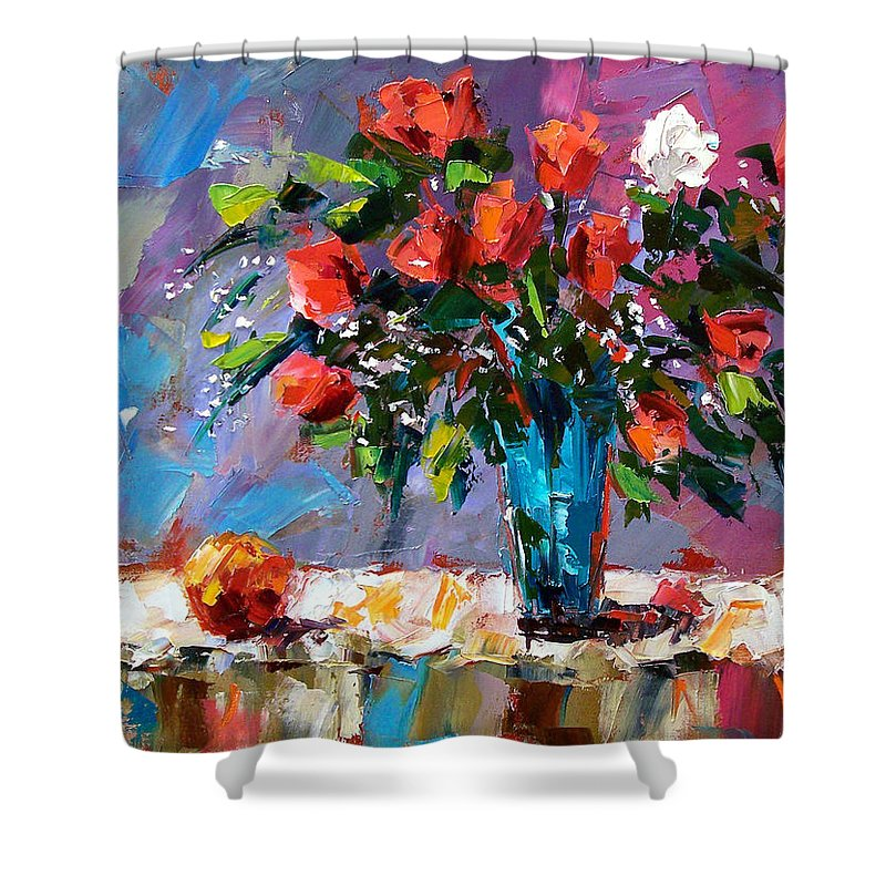 Flowers Shower Curtain featuring the painting Roses And A Peach by Debra Hurd