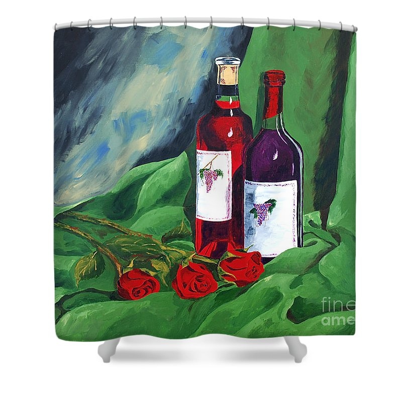 Wine And Roses Red Roses Red Wine Still Life Shower Curtain featuring the painting Roses And Wine by Herschel Fall