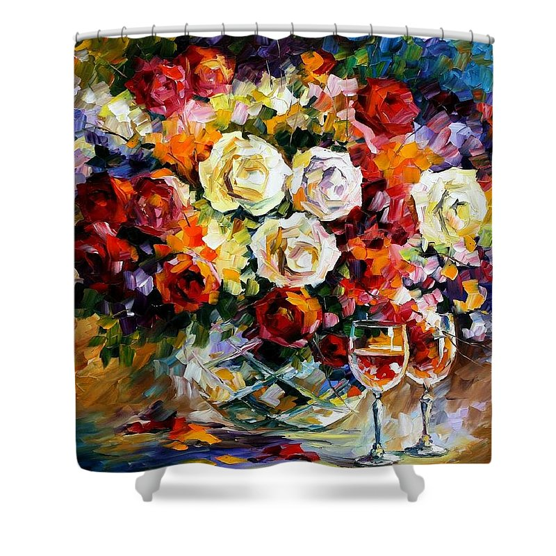 Still Life Shower Curtain featuring the painting Roses And Wine by Leonid Afremov