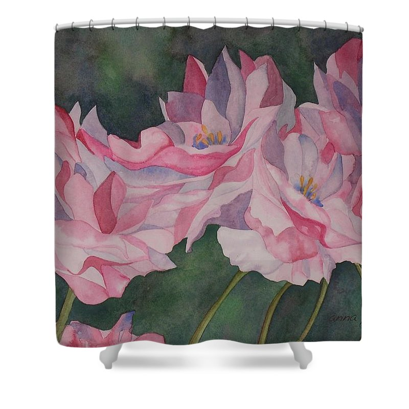 Roses Shower Curtain featuring the painting Roses by Anna Penny