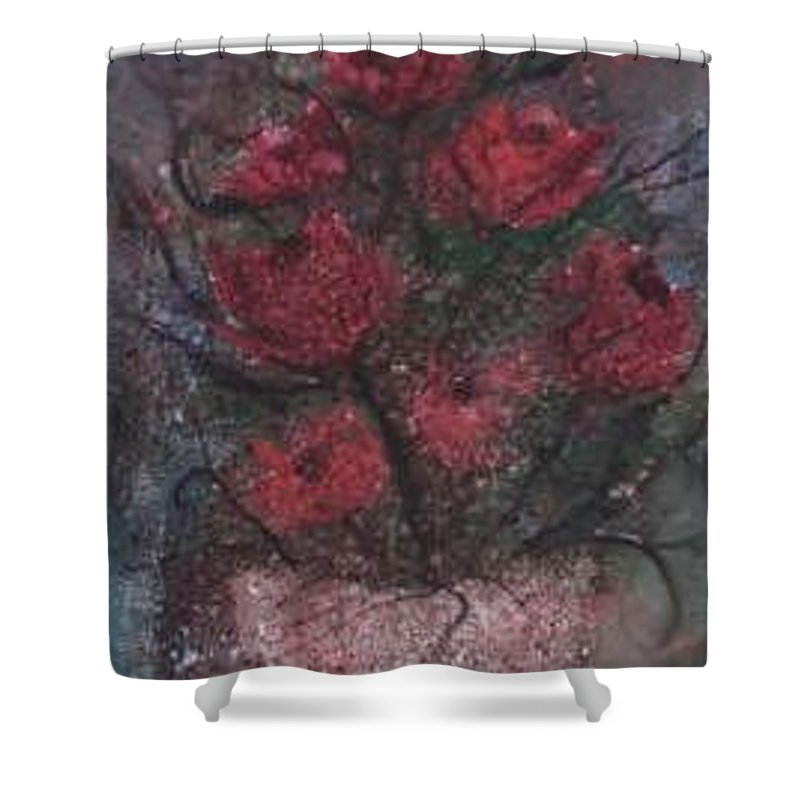 Watercolor Shower Curtain featuring the painting Roses At Night Gothic Surreal Modern Painting Poster Print by Derek Mccrea