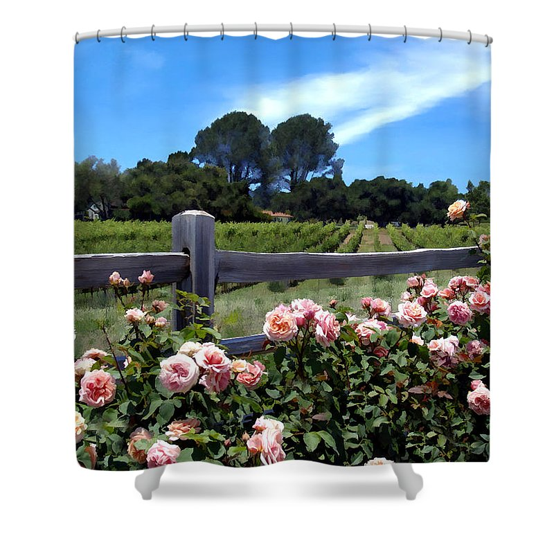 Flowers Shower Curtain featuring the photograph Roses At Rusack Vineyards by Kurt Van Wagner