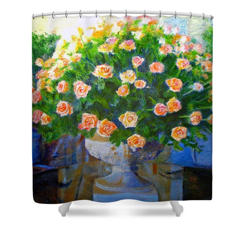 Rose Shower Curtain featuring the painting Roses At Table Bay by Michael Durst