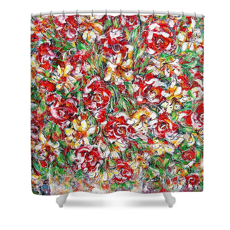 Red Roses Shower Curtain featuring the painting Roses For You by Natalie Holland