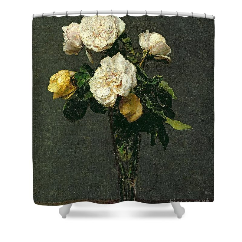 Roses Shower Curtain featuring the painting Roses In A Champagne Flute by Ignace Henri Jean Fantin-Latour