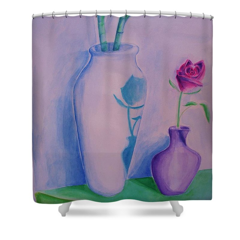 Red Rose Shower Curtain featuring the painting Roses In Vase by Eric Schiabor