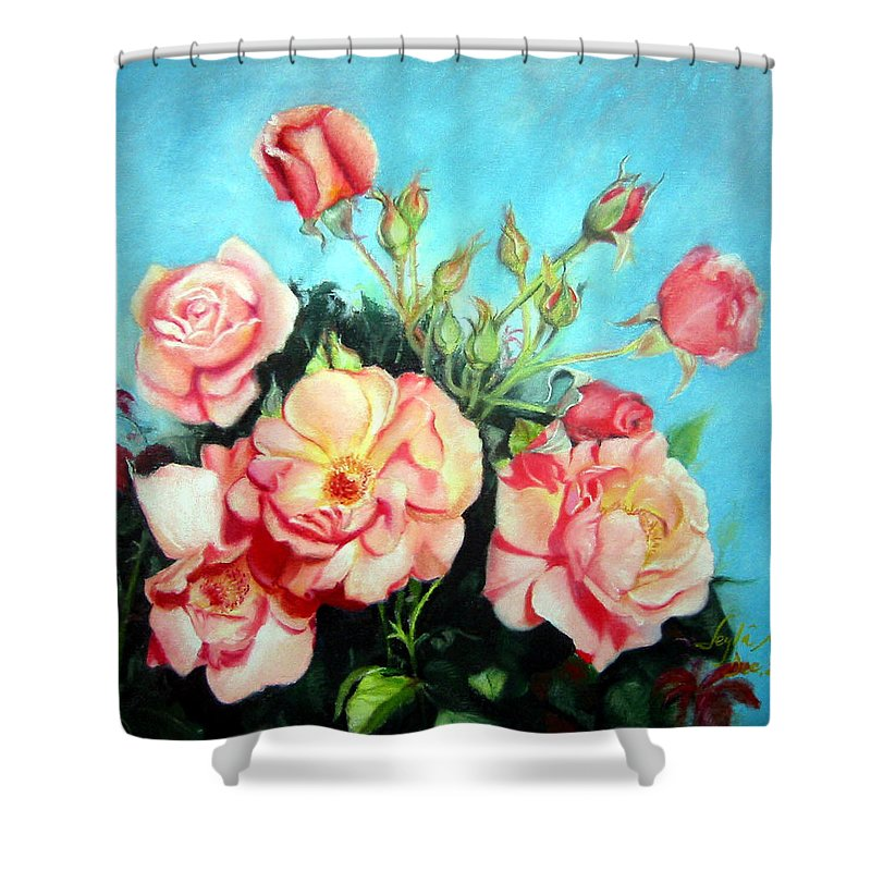 Flowers Shower Curtain featuring the painting Roses by Leyla Munteanu