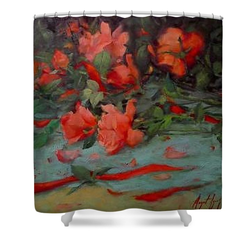 Rose Shower Curtain featuring the painting Roses by Margaret Aycock
