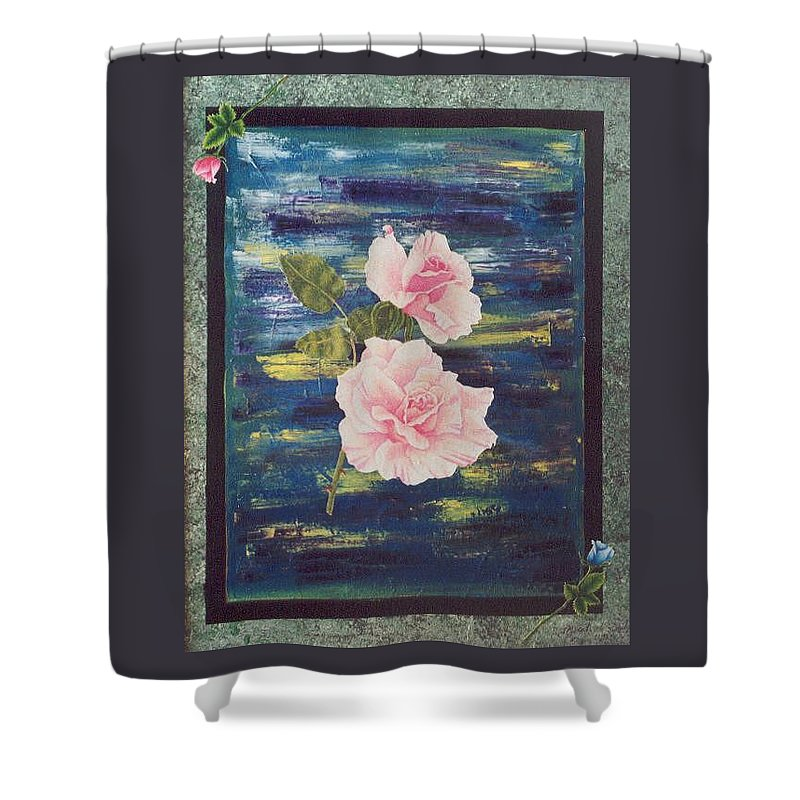 Rose Shower Curtain featuring the painting Roses by Micah Guenther