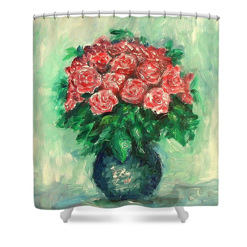 Oil Canvas Shower Curtain featuring the painting Roses Oil Painting by Natalja Picugina
