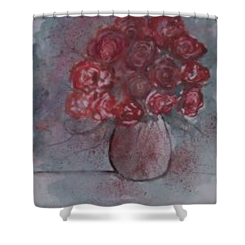 Watercolor Shower Curtain featuring the painting ROSES still life watercolor floral painting poster print by Derek Mccrea
