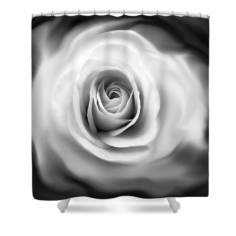 Rose Shower Curtain featuring the photograph Rose's Whisper Black And White by Jennie Marie Schell