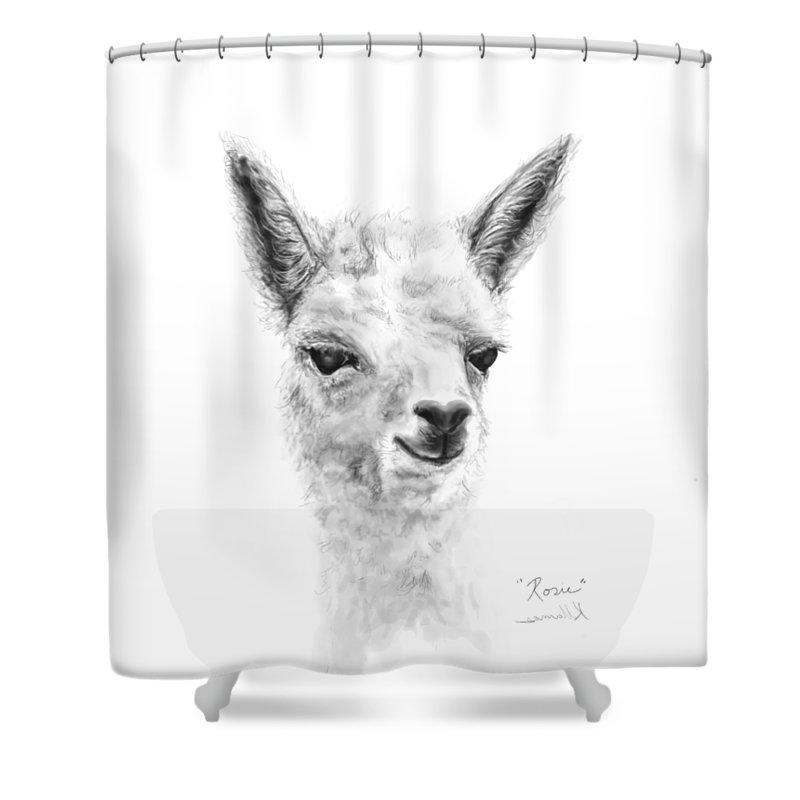 Llama Art Shower Curtain featuring the drawing Rosie by K Llamas