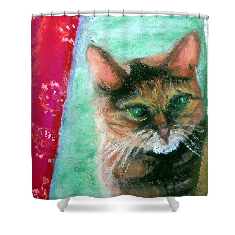 Cat Shower Curtain featuring the painting Rosy In Color by Minaz Jantz