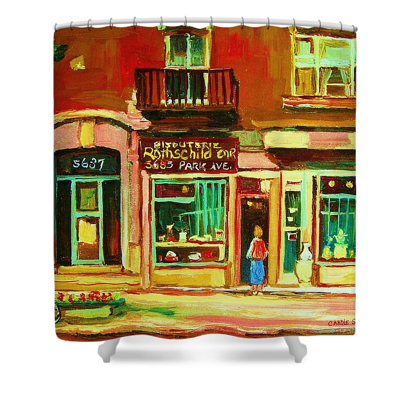 Montreal Shower Curtain featuring the painting Rothchilds Jewellers On Park Avenue by Carole Spandau