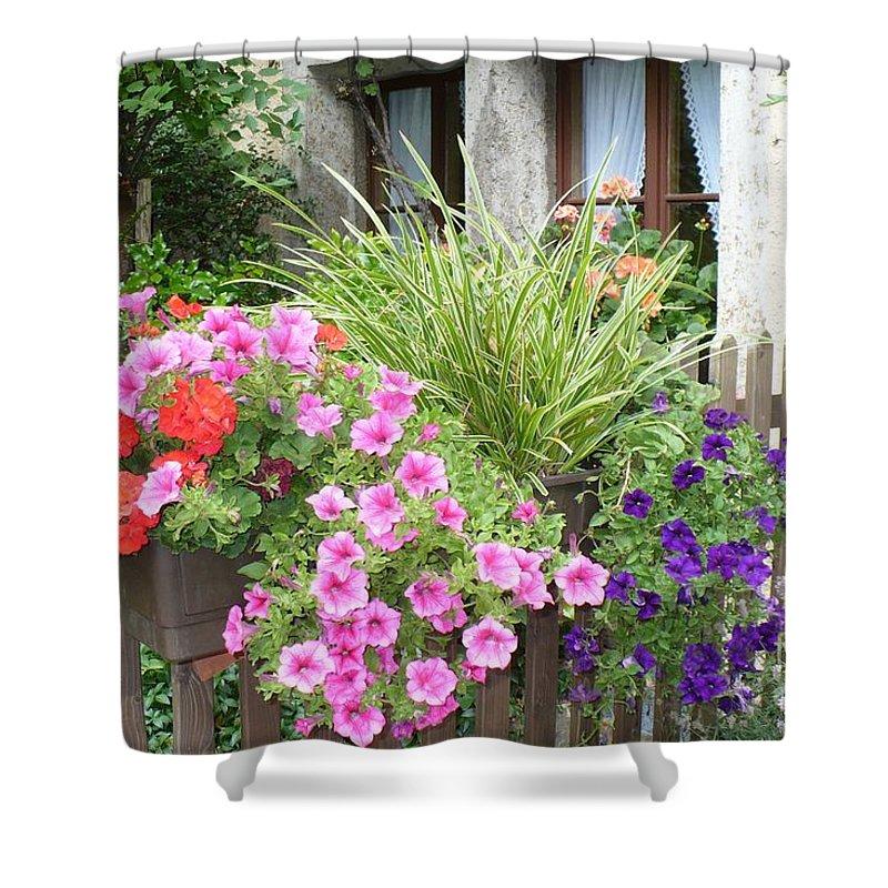 Garden Shower Curtain featuring the photograph Rothenburg Flower Box by Carol Groenen