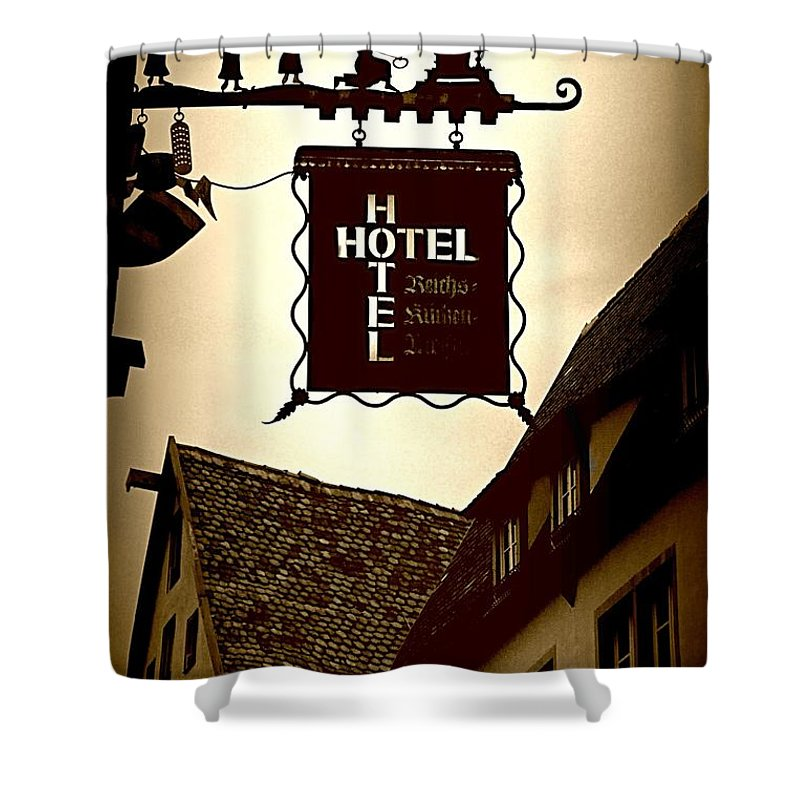 Hotel Sign Shower Curtain featuring the photograph Rothenburg Hotel Sign - Digital by Carol Groenen