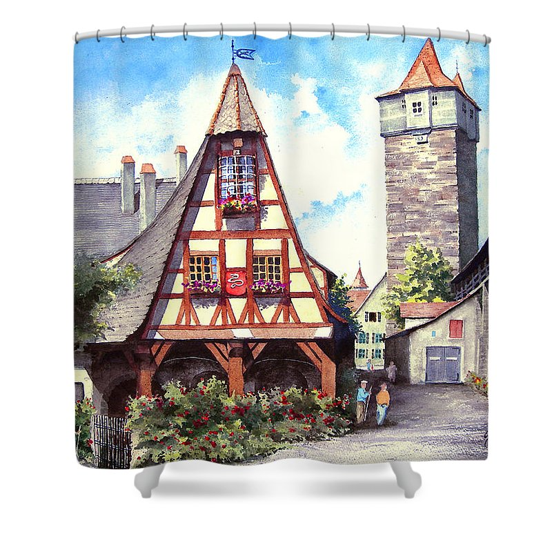 Germany Shower Curtain featuring the painting Rothenburg Memories by Sam Sidders