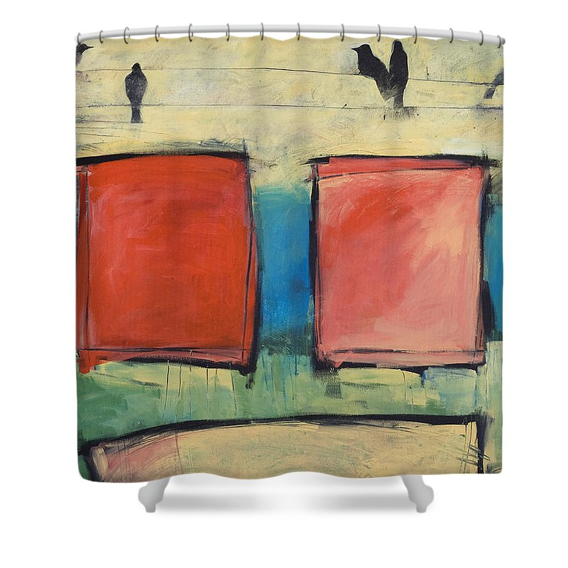 Rothko Shower Curtain featuring the painting Rothko Meets Hitchcock by Tim Nyberg