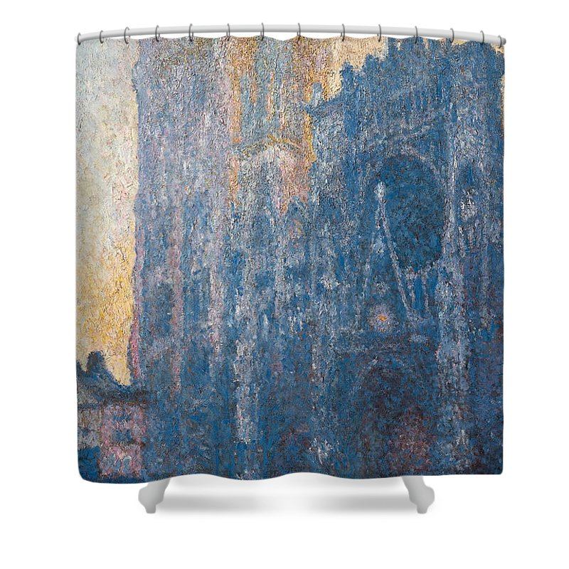 Architectural Shower Curtain featuring the painting Rouen Cathedral, The Portal, Morning by Claude Monet