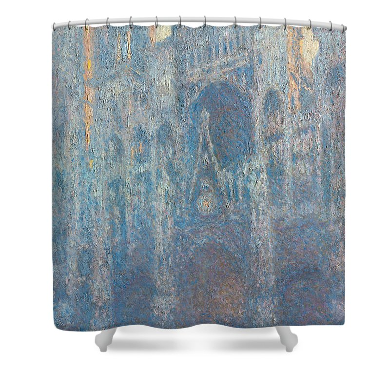 Architectural Shower Curtain featuring the painting Rouen Cathedral, The Portal, Morning Light by Claude Monet