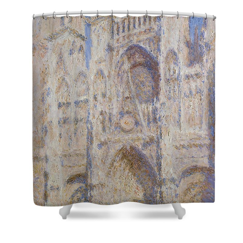 Architectural Shower Curtain featuring the painting Rouen Cathedral, The Portal, Sunlight by Claude Monet