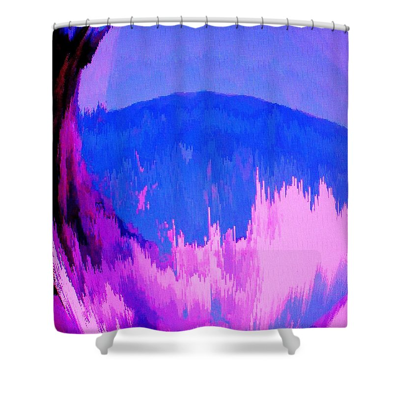 Abstract Shower Curtain featuring the digital art Rough Seas In Dominica by Ian MacDonald