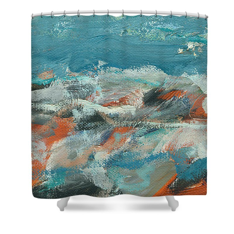 Seascape Shower Curtain featuring the painting Rough Waters by Jorge Delara